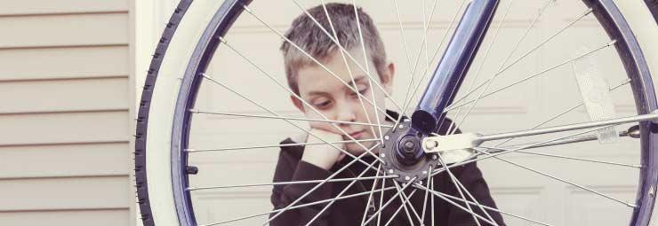 gomma bucata bicicletta
