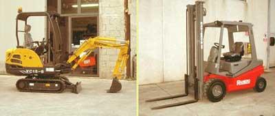 Escavatore e carrello elevatore